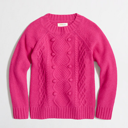 Factory girls' cable popover sweater