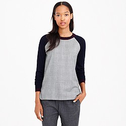 J.Crew Merino wool glen plaid-panel sweater