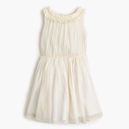 Girls' pleated ruffle dress in crinkle chiffon