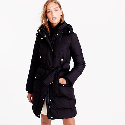 Long belted down puffer coat