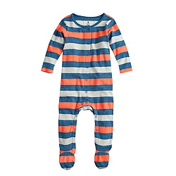 Baby footsie coverall in neon stripe