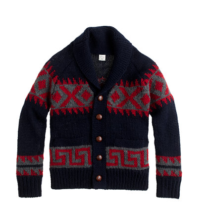 Boys' wool southwest-stripe shawl cardigan sweater