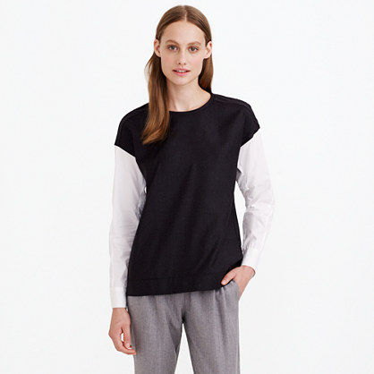 Collection wool flannel top with Thomas Mason® sleeves