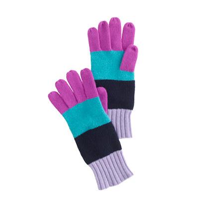Kids' colorblock-stripe cashmere gloves