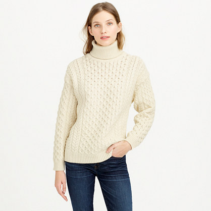 aran crafts fisherman cable knit turtleneck sweater