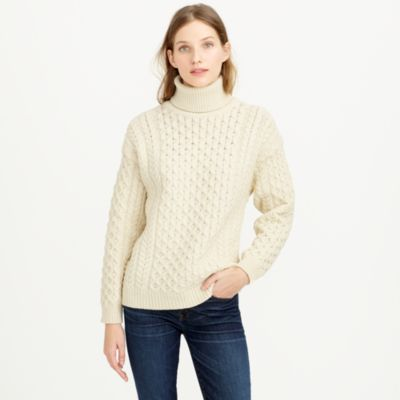 Aran Crafts  fisherman cable-knit turtleneck sweater : Pullovers J.Crew
