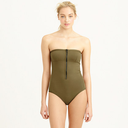 Italian matte bandeau zip one-piece swimsuit