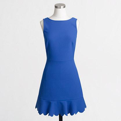 Scalloped drop-hem dress
