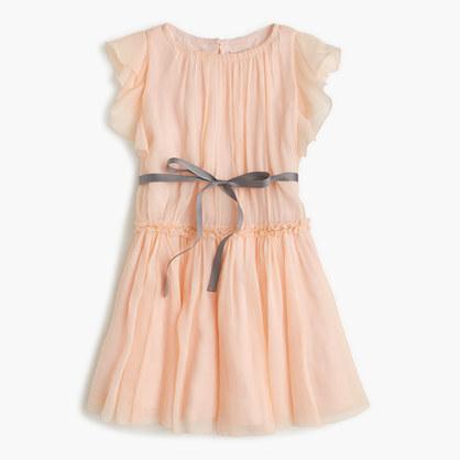 Girls' ruffle-sleeve dress in silk chiffon