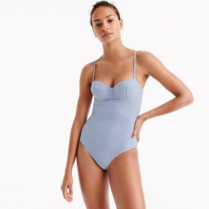 DD-cup seersucker underwire one-piece swimsuit
