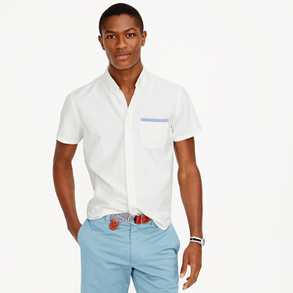 Short-sleeve vintage oxford shirt with tipped pocket