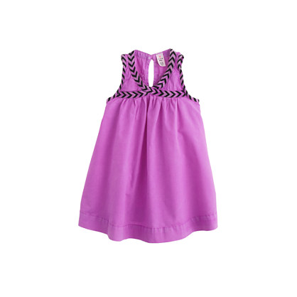 Baby dress in violet with chevron trim