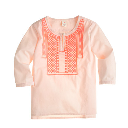 Girls' embroidered dot popover shirt