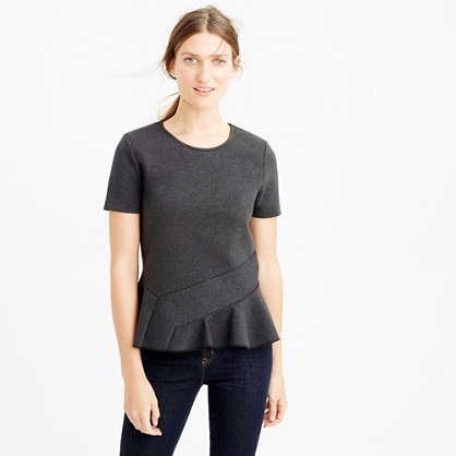 Structured flutter-hem T-shirt