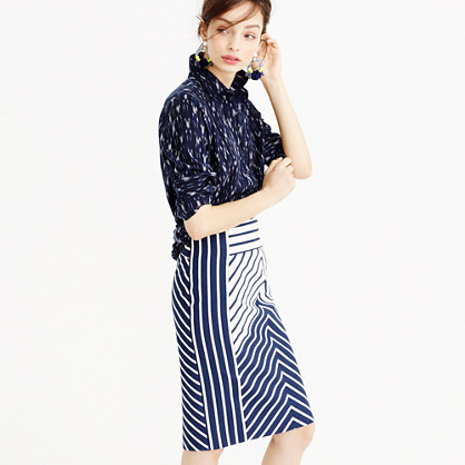 Petite pencil skirt in chevron stripe