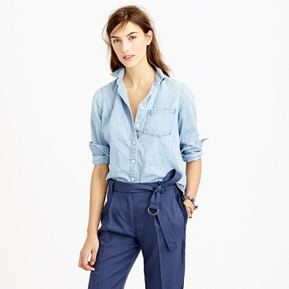 Petite chambray pocket shirt