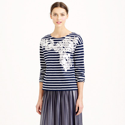 Metallic floral sailor T-shirt