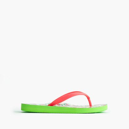 Girls' printed flip-flops