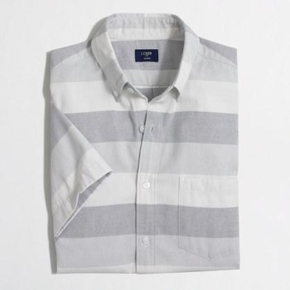 Short-sleeve oxford shirt in horizontal stripe