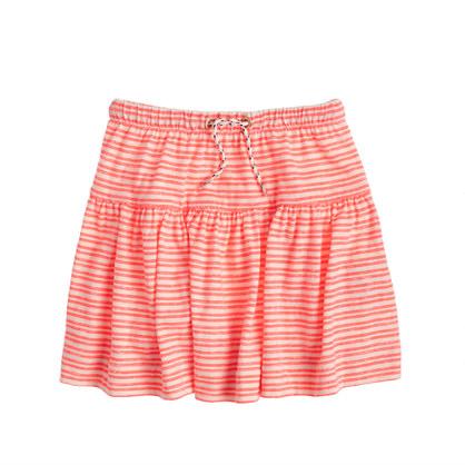 Girls' striped drawstring skirt
