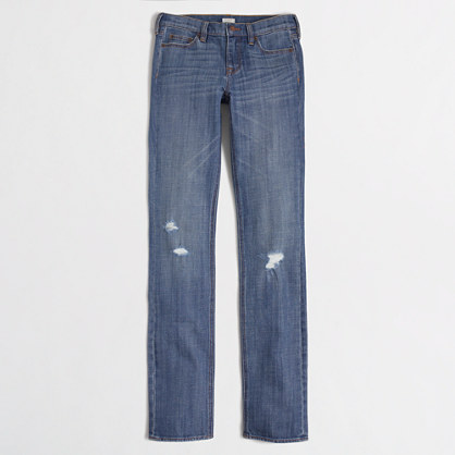 Factory distressed straight and narrow jean