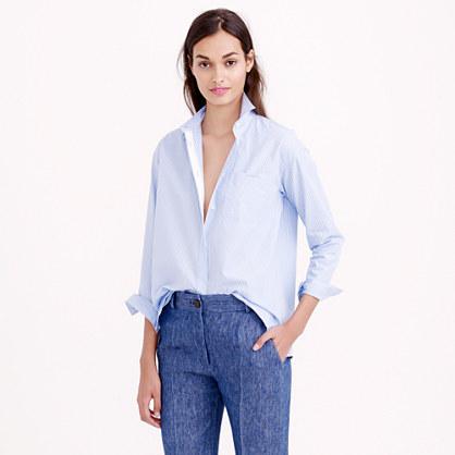 Thin stripe cropped button-down shirt