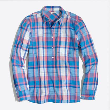 Factory plaid gauze popover shirt