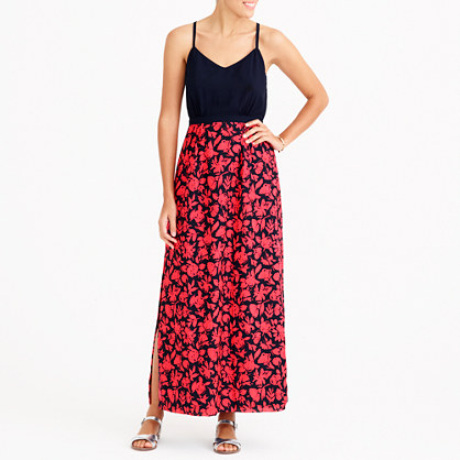 Petite maxi dress with printed skirt