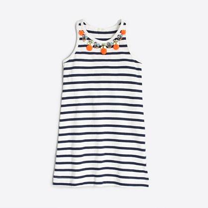 Factory girls' stripe pom-pom necklace dress