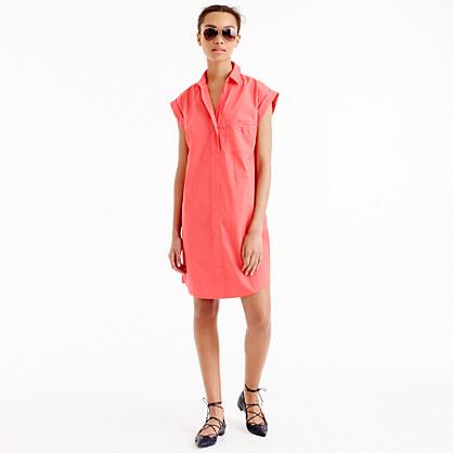 Tall short-sleeve cotton shirtdress