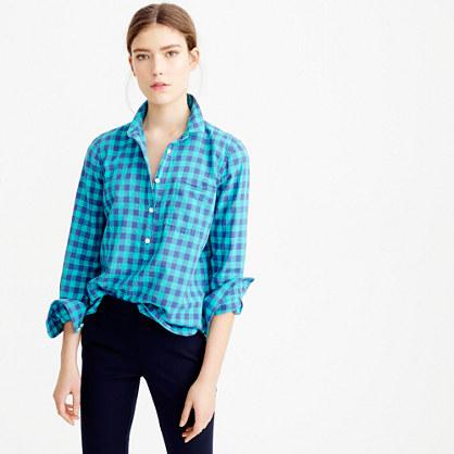 Caribbean blue gingham popover shirt