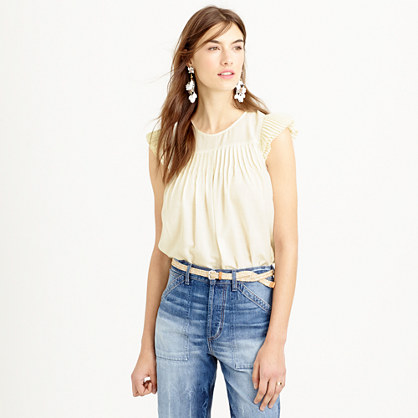 Pleated flutter cap-sleeve top