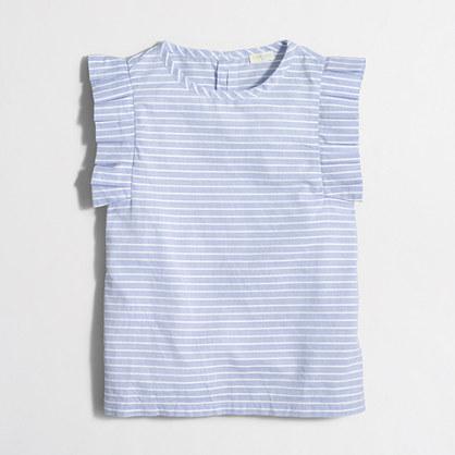 Factory girls' striped flutter-sleeve shirt