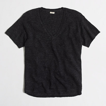 Short-sleeve drapey sweater t-SHIRT