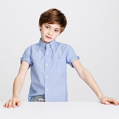Kids' Secret Wash short-sleeve end-on-end shirt
