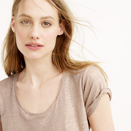 Metallic linen scoopneck T-shirt