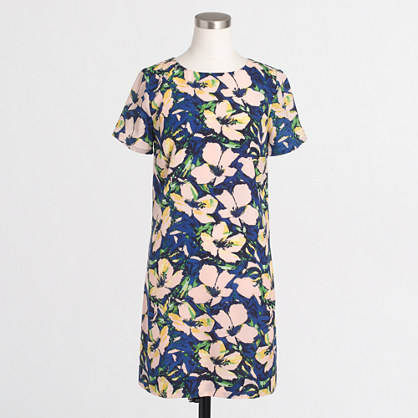 Factory printed drapey T-shirt dress