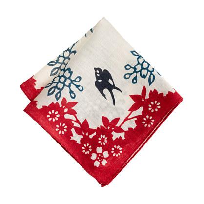 Linen pocket square in floral sparrow
