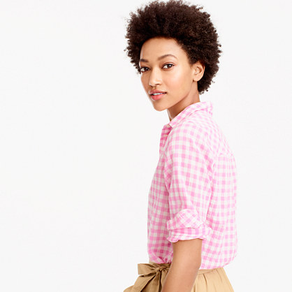 Boy shirt in crinkle gingham