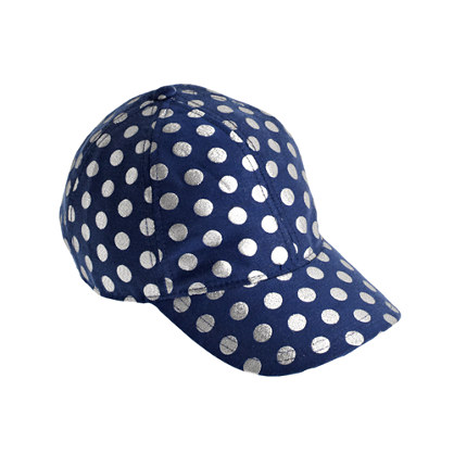 Girls' silver dot baseball cap