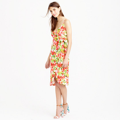 Collection Italian silk wrap dress in hibiscus