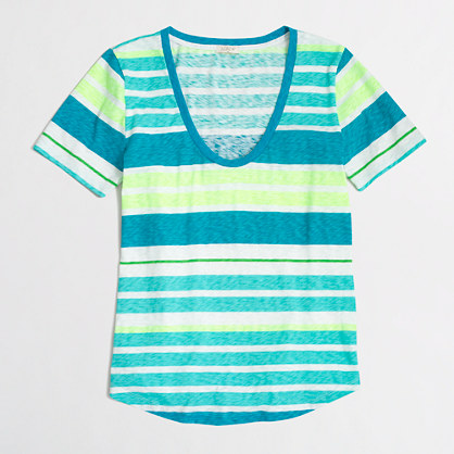 Triple-striped sketched cotton T-shirt
