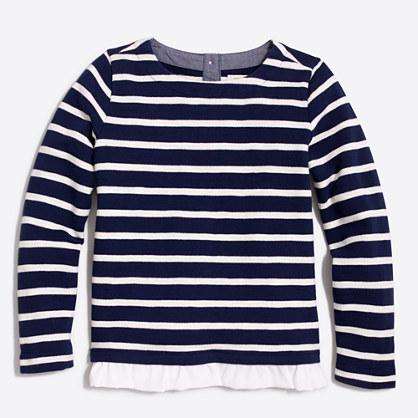 Factory girls' striped ruffle-hem sweatshirt