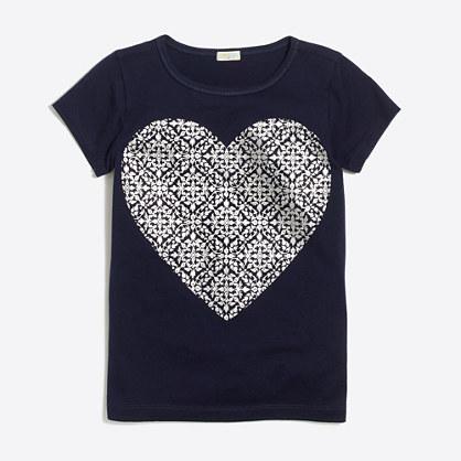 Girls' foil heart keepsake T-shirt