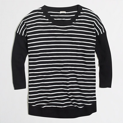 STRIPED drapey cotton sweater