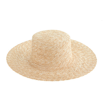 Wide-brimmed straw beach hat