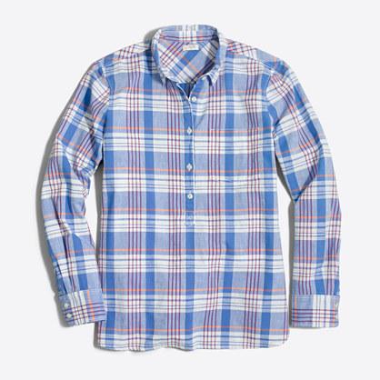Factory petite homespun popover shirt