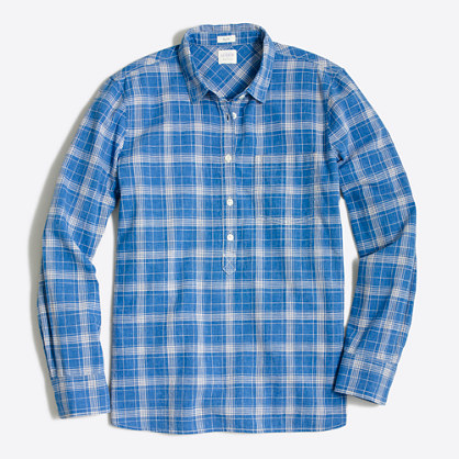 Factory petite homespun popover shirt in boy fit