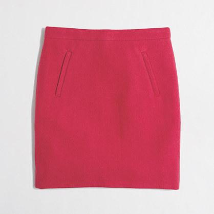 Zip-pocket wool mini skirt