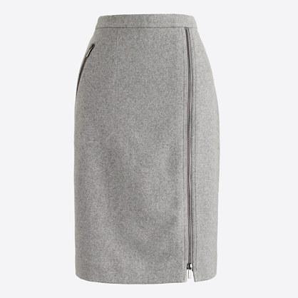 Asymmetrical zip pencil skirt in wool